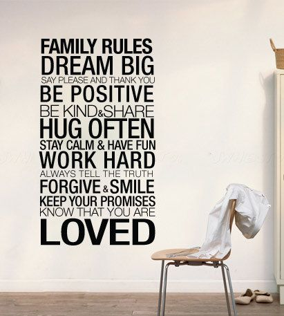 Wall Decal Quotes Family Rules Inspirational Quote Home Decor Typography Decorative Sticker Family Rules Home Quotes And Sayings Sticker Wall Art
