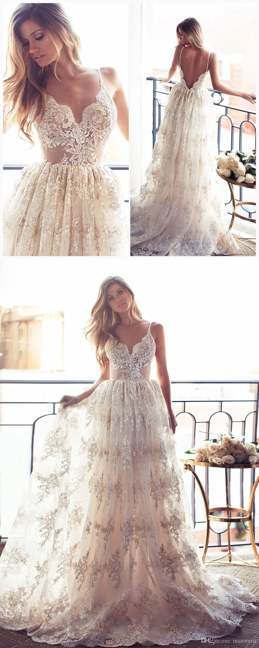 960e20705f Romantic A-line Strapless Long Lace Wedding Dress from modsele ...