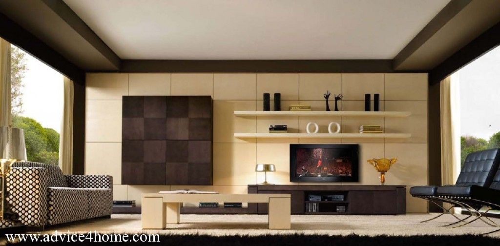 Coffee Cream Shade Living Room Interior With TV Wall Design With Open  Shelves Part 16