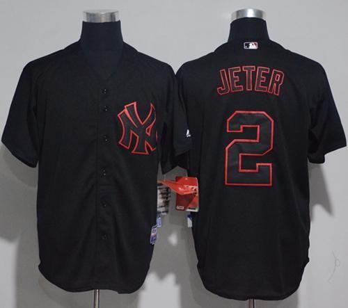 ca86aafa78e Yankees  2 Derek Jeter Black Strip Stitched MLB Jersey