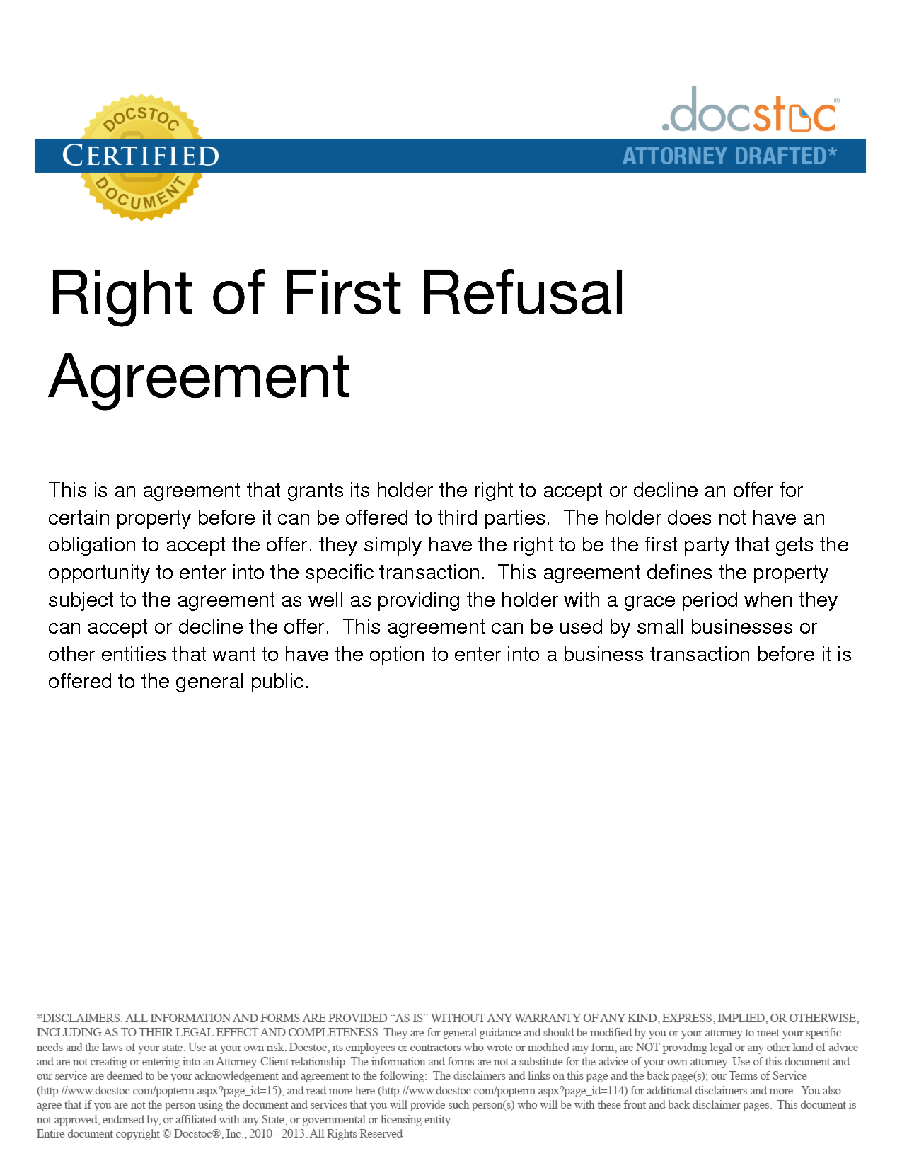 Right of first refusal The picture is a example of right of fist ...