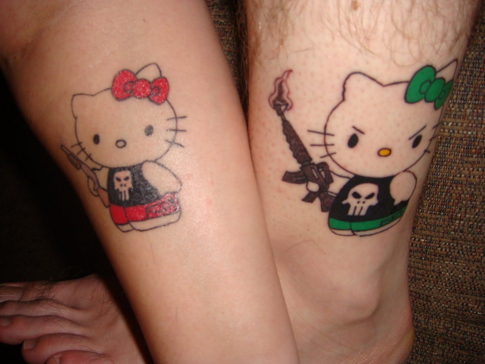 Check Out Hello Kitty From Cool Matching Tattoos For Couples Hello Kitty Tattoos Cute Matching Tattoos Couple Tattoos