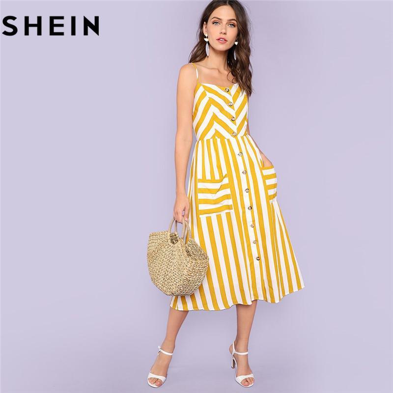 f8371cc7d40a SHEIN Striped Spaghetti Strap High Waist Mid-Calf Dresses Women 2018 Summer  Vacation Beach Button Up Pockets Front Cami Dress