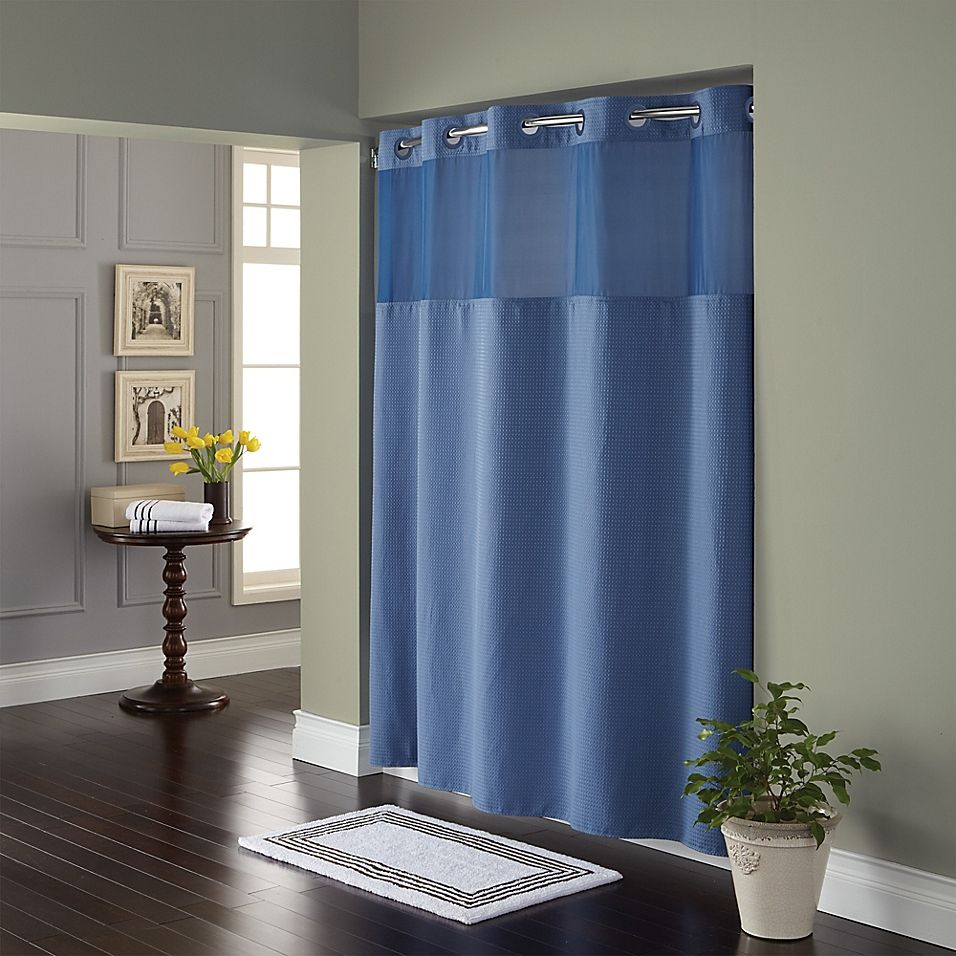 Hookless Waffle 72 X 98 Fabric Shower Curtain In Moonlight Blue