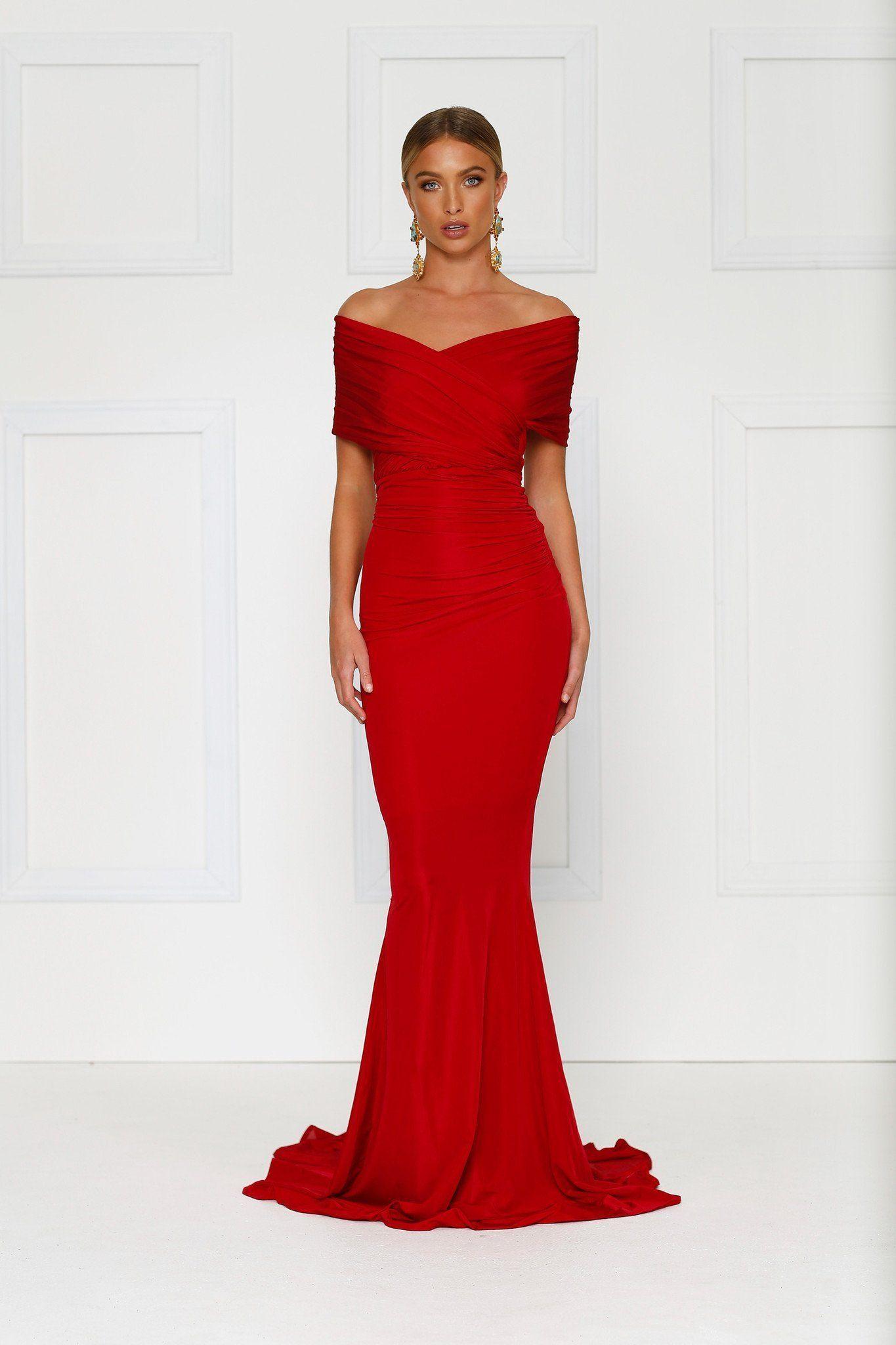 c3edaf53ec85 Campanule Off-shoulder Gown - Wine Red