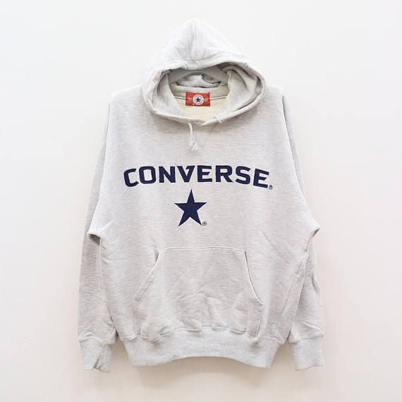 Vintage Converse All Star Chuck Taylor Big Logo Gray Hoodies Sweater Sweatshirt Size M