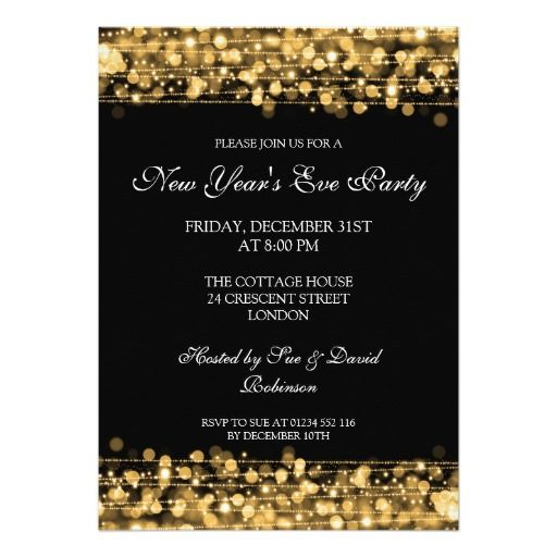 elegant new years eve party sparkles gold invitation christmas