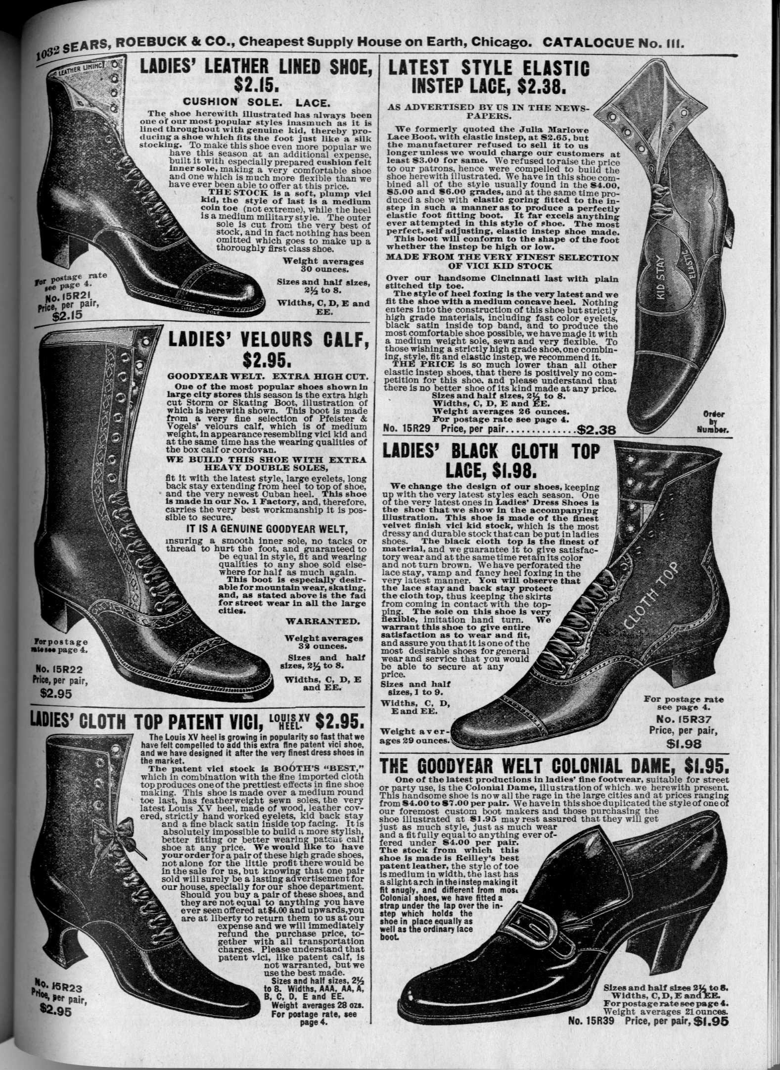 fa4e81042e4 Ladies' Boots and Shoes, Sears Roebuck Catalog 1902 | 1900s ...