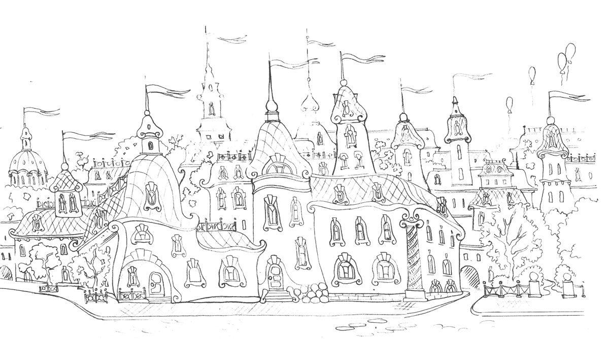 Сложные раскраски для взрослых по теме Город | Tapestry ...