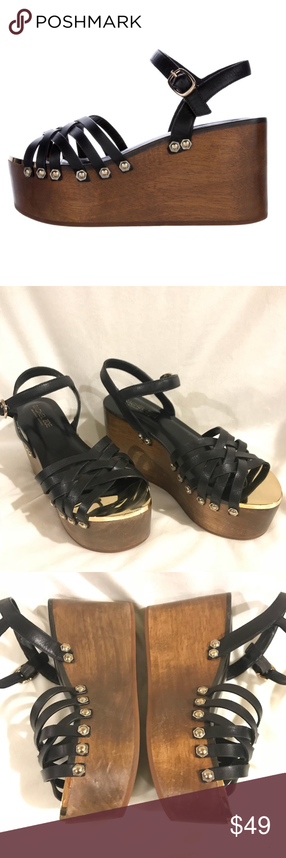 5cd394969396 RACHEL ZOE ✨ Mae Platform Wedge Sandals Black leather Rachel Zoe platform wedge  sandals with goldtone
