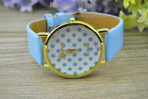 Blue leather bracelet watch women's wrist watch by BraceletTribal, $3.99 Fashion handmade leather watch