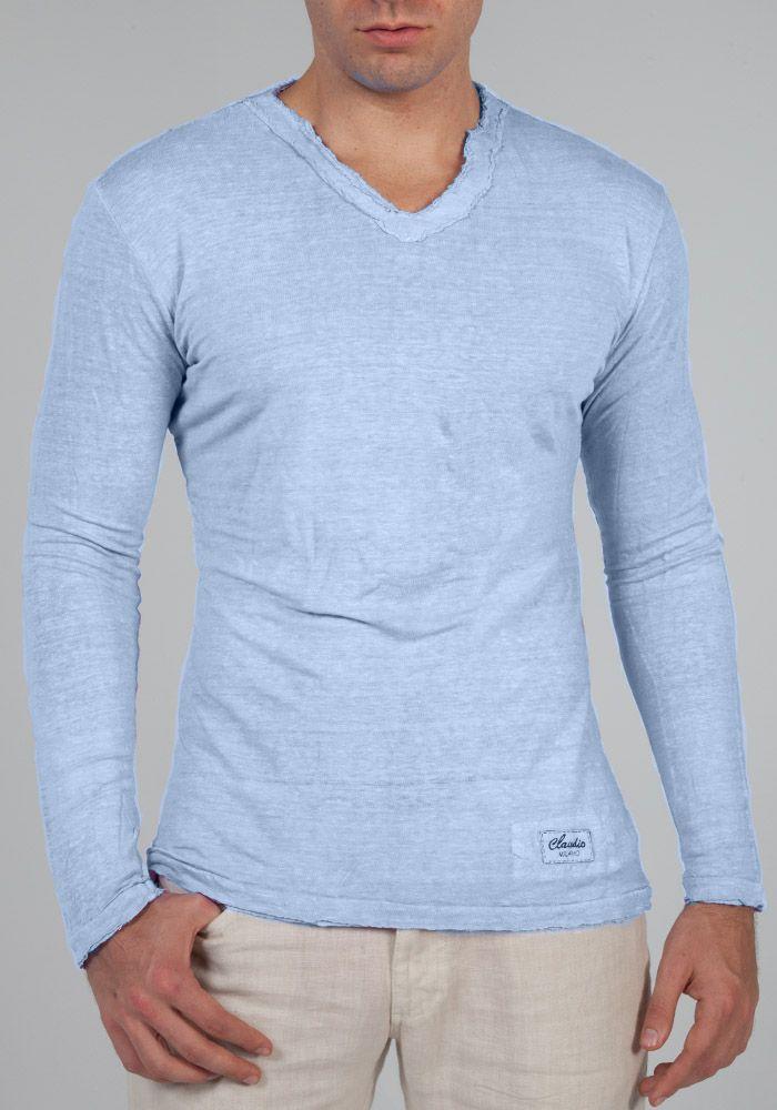 Jersey linen fitted long sleeve v-neck T-Shirt in Light Blue ...