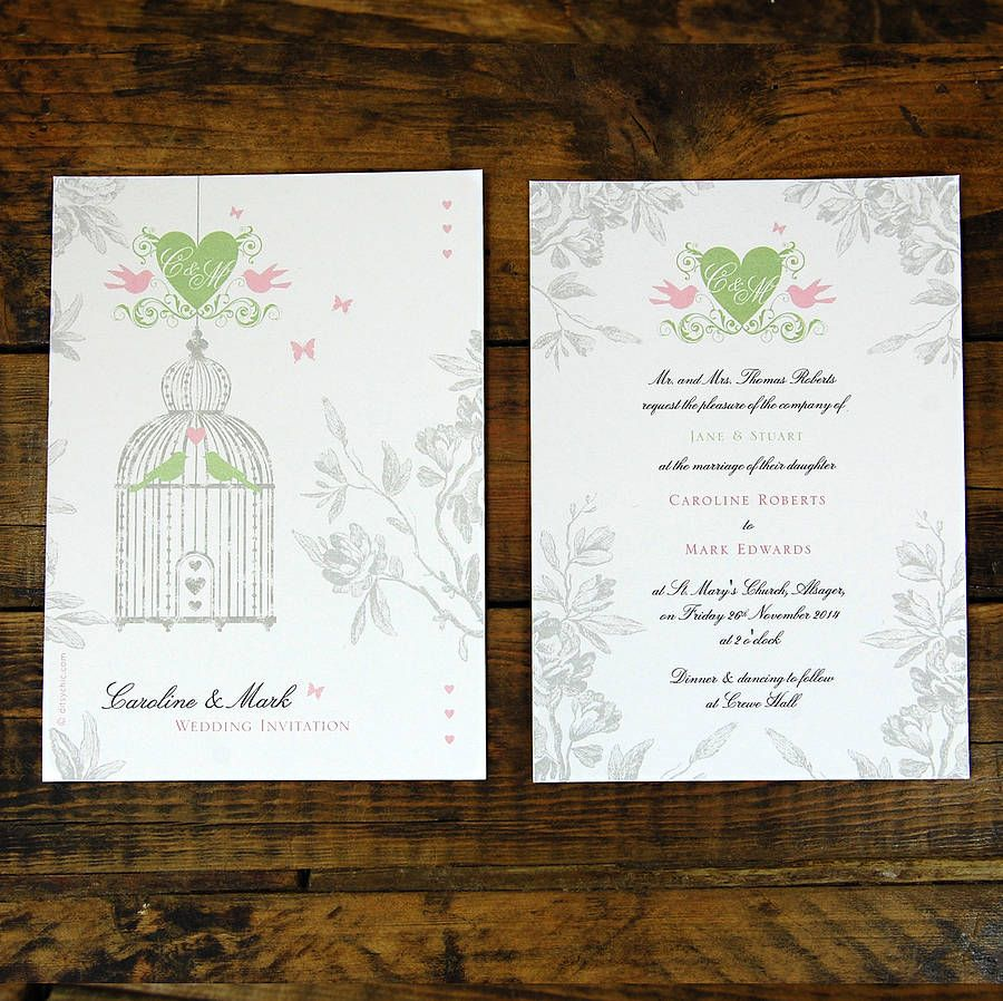 Vintage Style Birdcage Wedding Invitation | Vintage birdcage ...