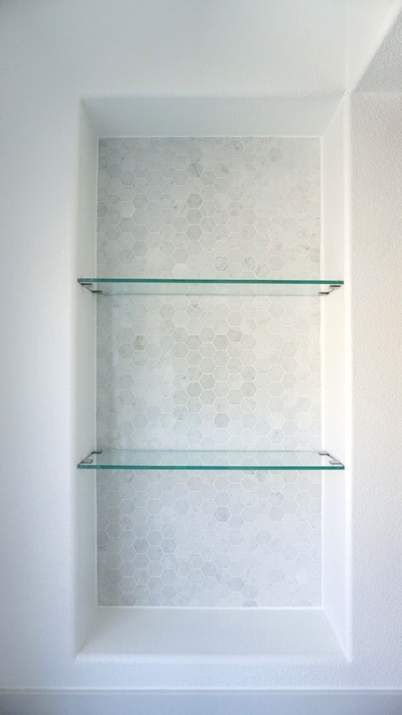 Classic Modern Master Bathroom Update Reveal Glass Shelves In