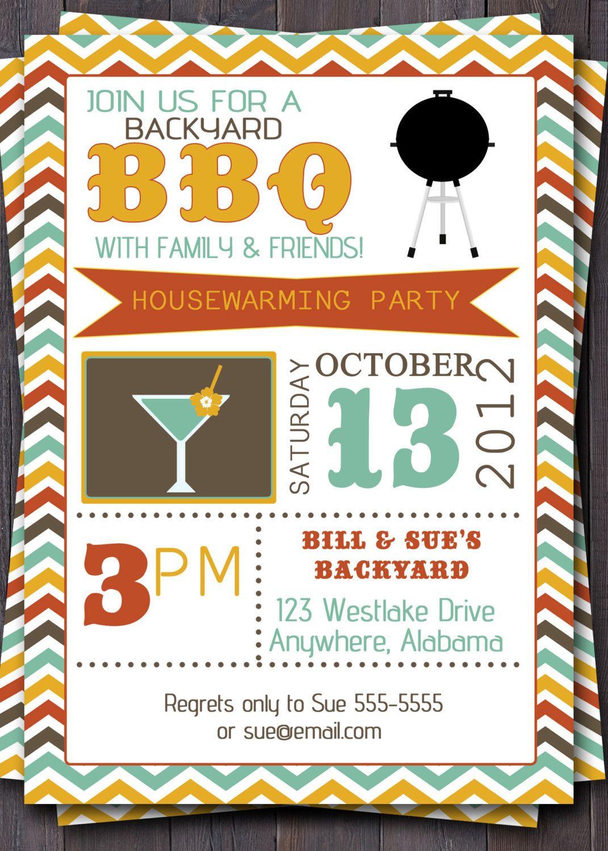 BBQ Party Invitation/Invite. Birthday, Baby Shower, Pool