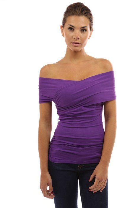 defeb4917497 Women s Crossover Off Shoulder Top (Purple S)