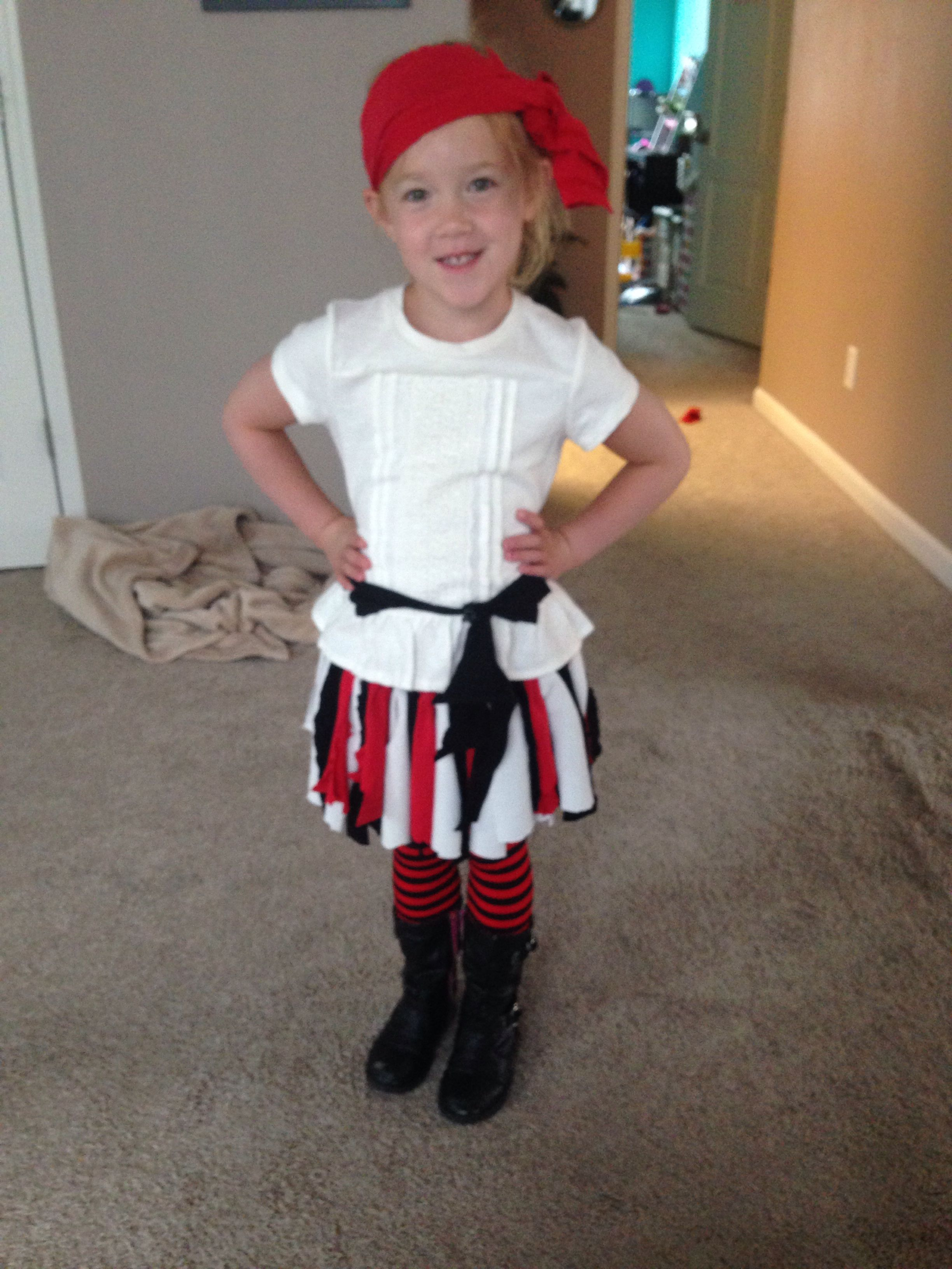 DIY girl pirate costume. Old tshirtswere used to make the skirt belt and bandana.  sc 1 st  Pinterest & DIY girl pirate costume. Old tshirtswere used to make the skirt ...