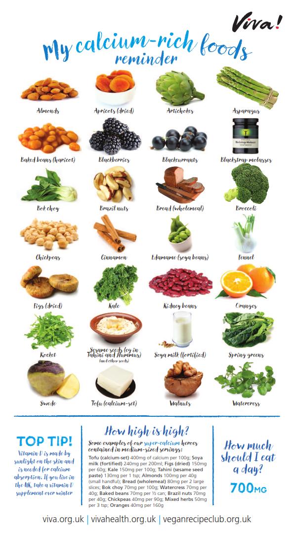 Calcium Nutritional Poster Foods with calcium, Vegan