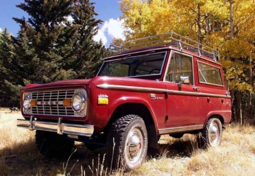 Love This Red Bronco With The Roof Rack With The Fall Background Classic Bronco Ford Bronco Classic Ford Broncos