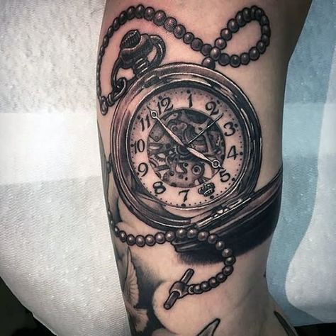 Realistic Pocket Watch Tattoo On Bicep Relogio E Rosas