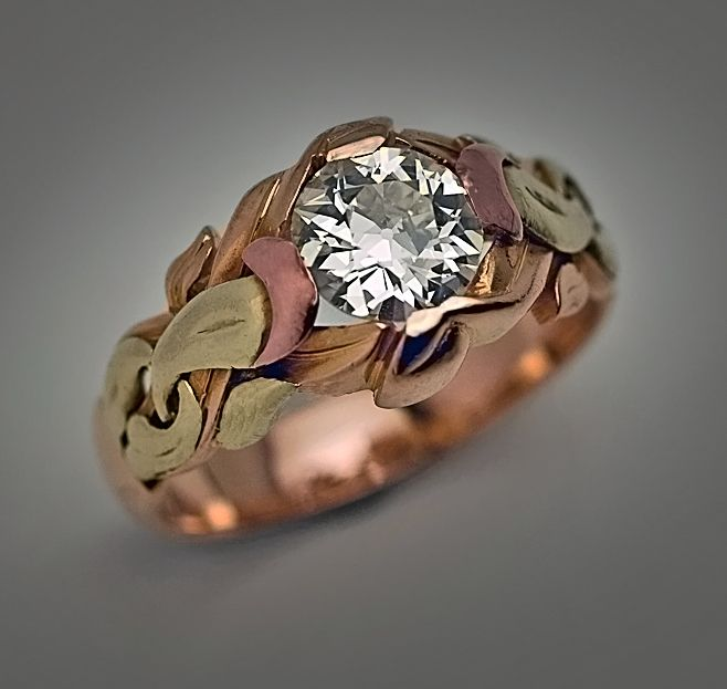 https://www.bkgjewelry.com/ruby-rings/134-18k-yellow-gold-diamond-ruby-ring.html An Unusual Art Nouveau Antique Russian Solitaire Diamond Men's Gold Ring made in Odessa between 1899 and 1908
