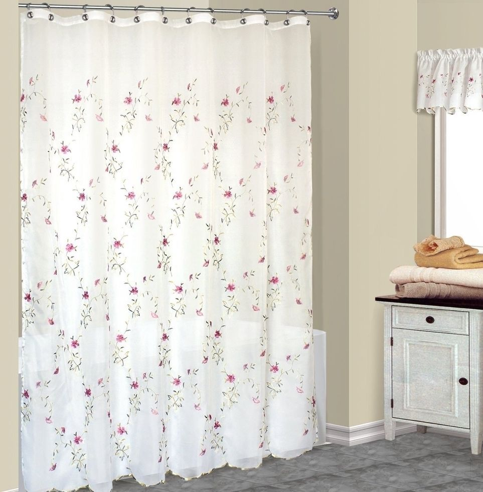 Loretta fabric shower curtain with embroidered violet flowers and