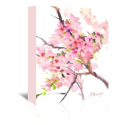 "Lark Manor Sakura Painting Print on Wrapped Canvas Size: 48"" H x 32"" W x 1.75"" D"