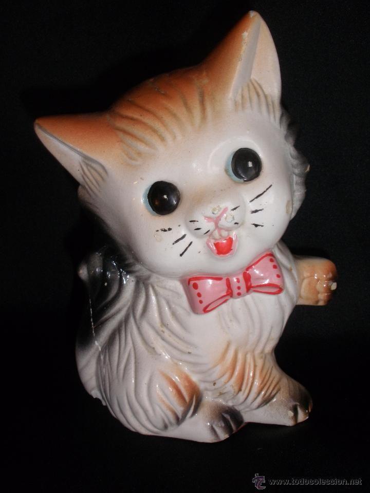 Hucha Figura de gatito en cerámica porcelana de los años 60