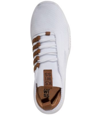 K Swiss Men S Gen K Icon Knit Casual Sneakers From Finish Line White Brown 8 5 White Shoes Men Mens Fashion Casual Shoes Addidas Shoes Mens