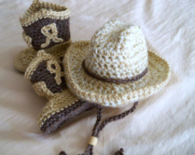 Cowgirl Hat Boots Chaps Diaper Cover Set Crochet Pink Tan