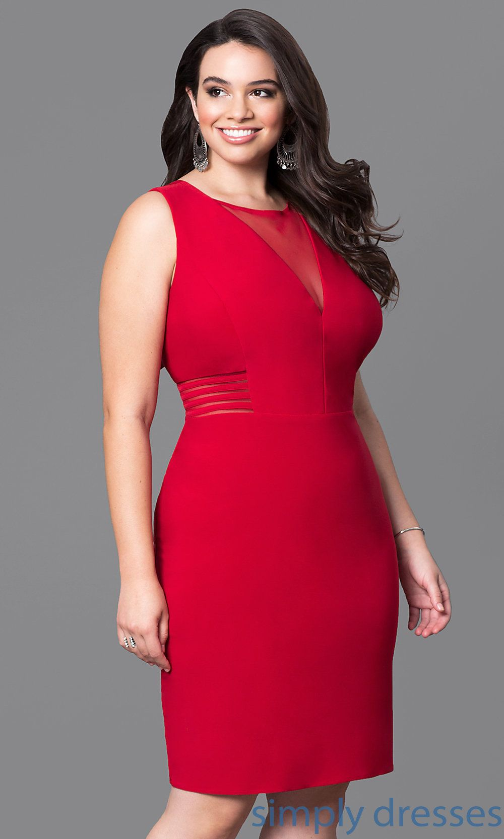 Mo 12272wm Short Plus Size Holiday Party Dress With Cut Outs