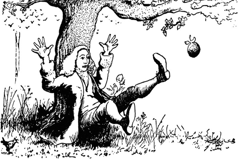 Apple Falling On Isaac Newton Coloring Page | Kids Coloring Pages ...