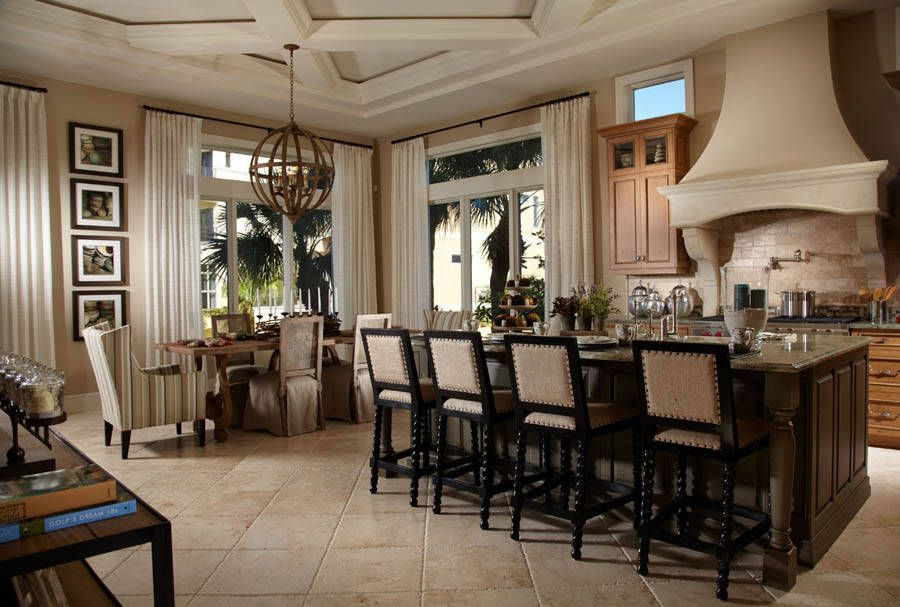 Love The Whole Room But I M Crazy About The Bar Stools And Lighting Freestyle Interiors Bonita Springs Fl Beach House Dining Room Home Deco House Design