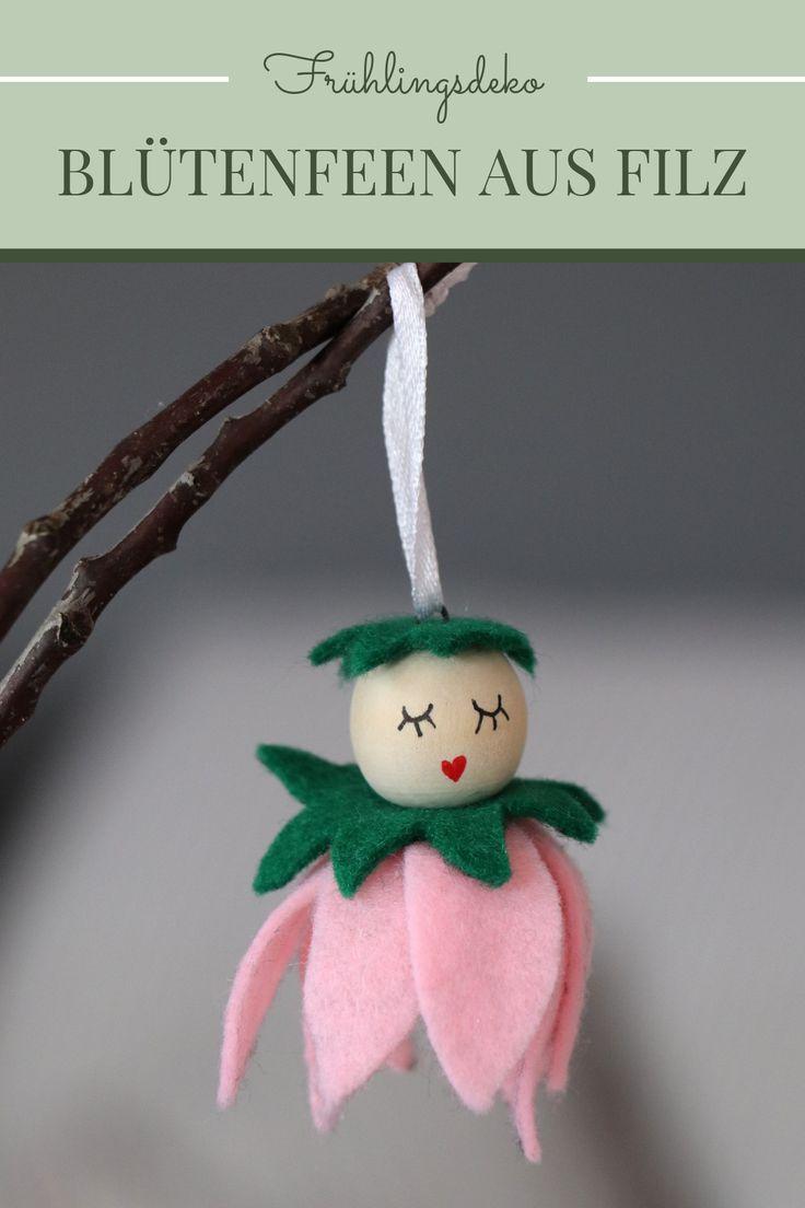 DIY-Idee: Filz-Blumenmädchen aus Holzperlen - Lavendelblog #frühlingblumen