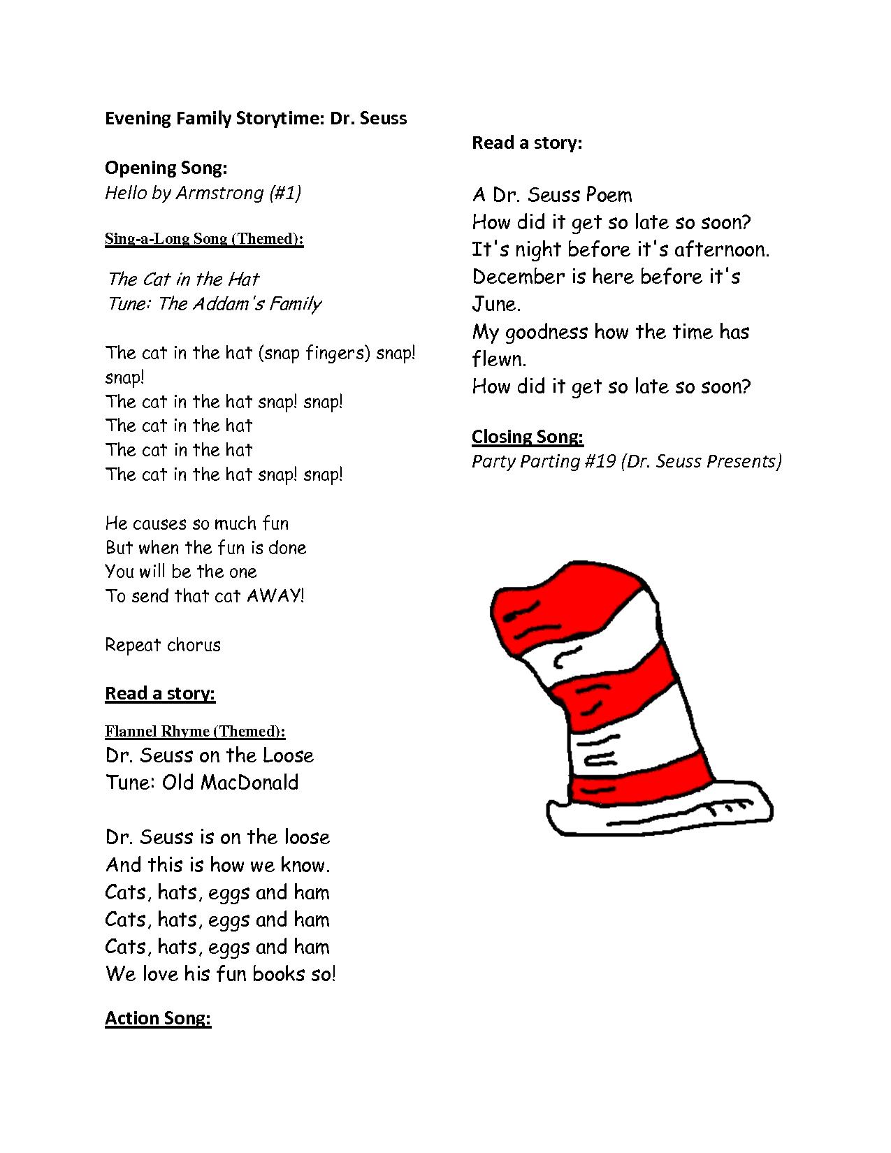 Hat Dr Seuss Printable Rhymes