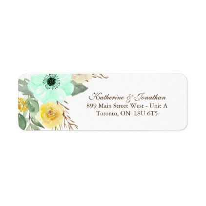 template - #Mint and Yellow RSVP Address Labels template