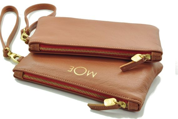 Caramel Red Monogrammed Clutch Wristlet Leather Bridesmaid Gift Mother S Day