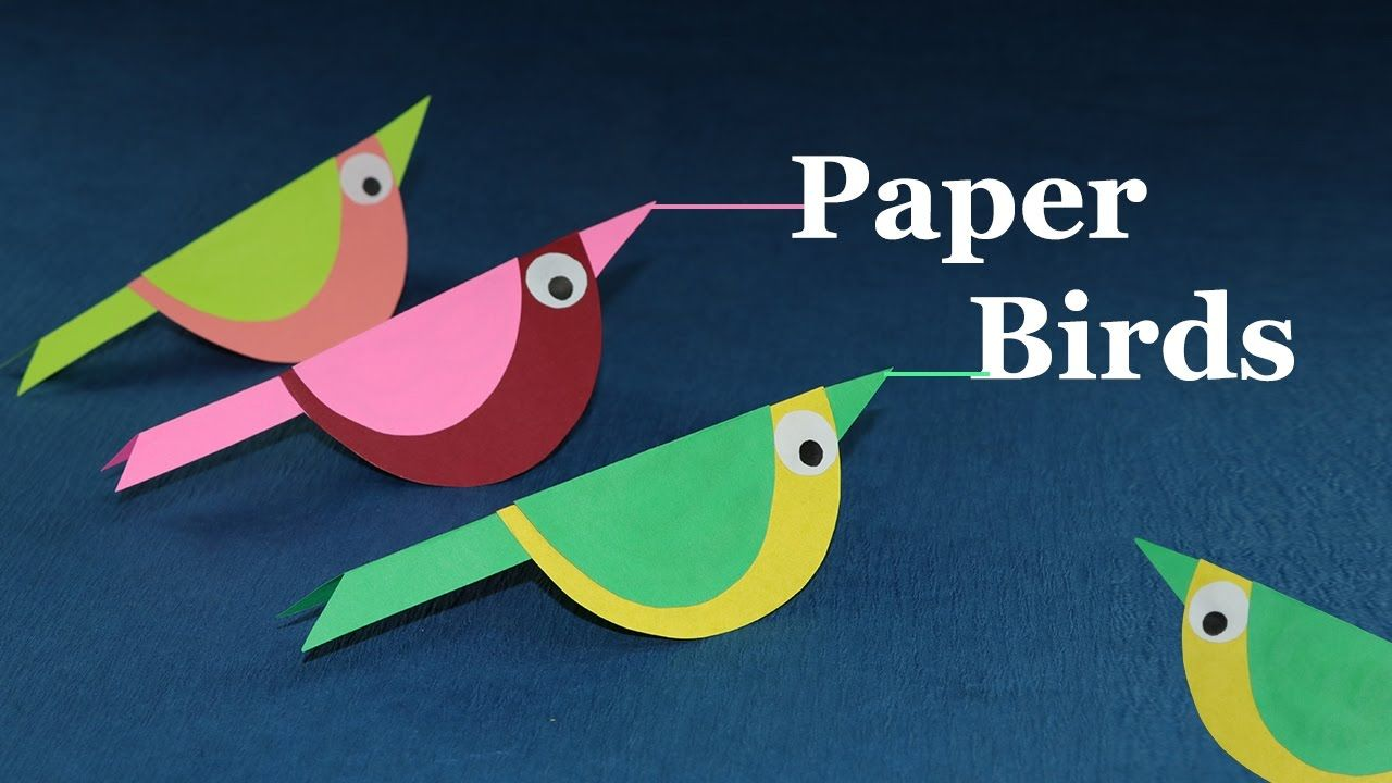 Paper Crafts For Kids How To Make Paper Bird Very Easy Craft Work For Kids Fun Arts And Crafts Easy Crafts For Kids
