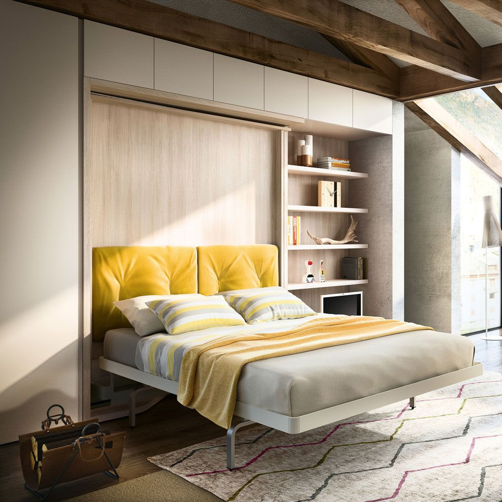 Revolving Wall Bed With Desk Shelves Lgm Tavolo Modern