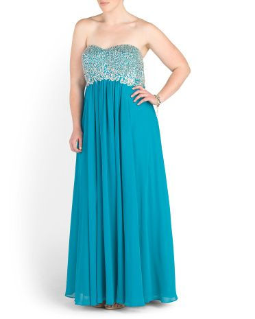 Plus Juniors Long Strapless Prom Dress Plus Dresses Tjmaxx