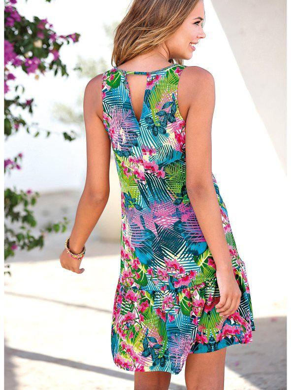 Vestido sin mangas mujer estampado tropical con volante