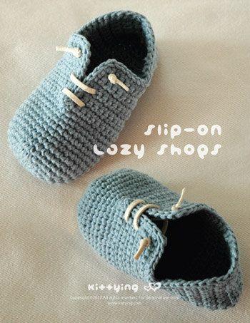 Crochet patrones - slip niño perezoso zapatos talla 4, 6, 7, 8, 9 ...