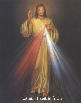 """Divine Mercy Sunday - """"The soul that will go to Confession and receive Holy Communion shall obtain complete forgiveness of sins and punishment. On that day all the divine floodgates through which graces flow are opened. Let no soul fear to draw near to Me, even though its sins be as scarlet.... Mankind will not have peace until it turns to the Fount of My Mercy.""""  (699)"""