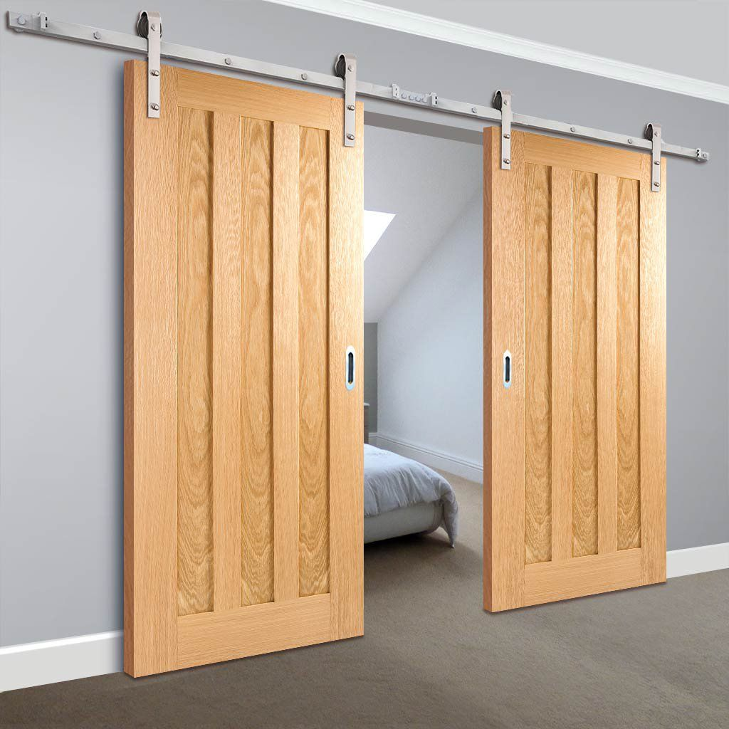 Double Sliding Door Track Idaho 3 Panel Oak Doors Unfinished In 2020 Barn Style Sliding Doors Sliding Doors Double Sliding Doors