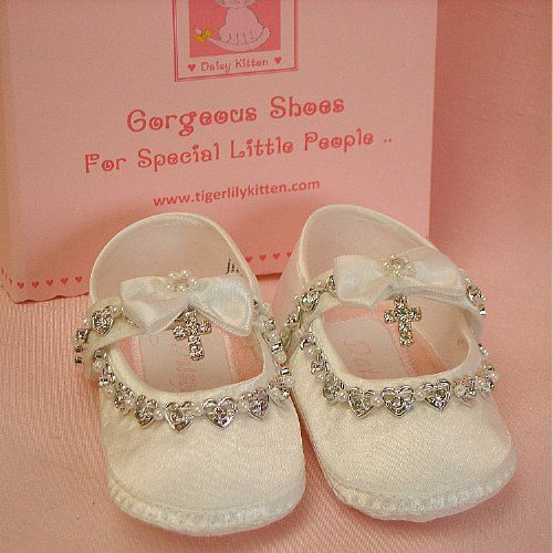 2dd51b14b7970 Christening Baptism Shoes Ivory or White Satin,Heart Diamantes ...