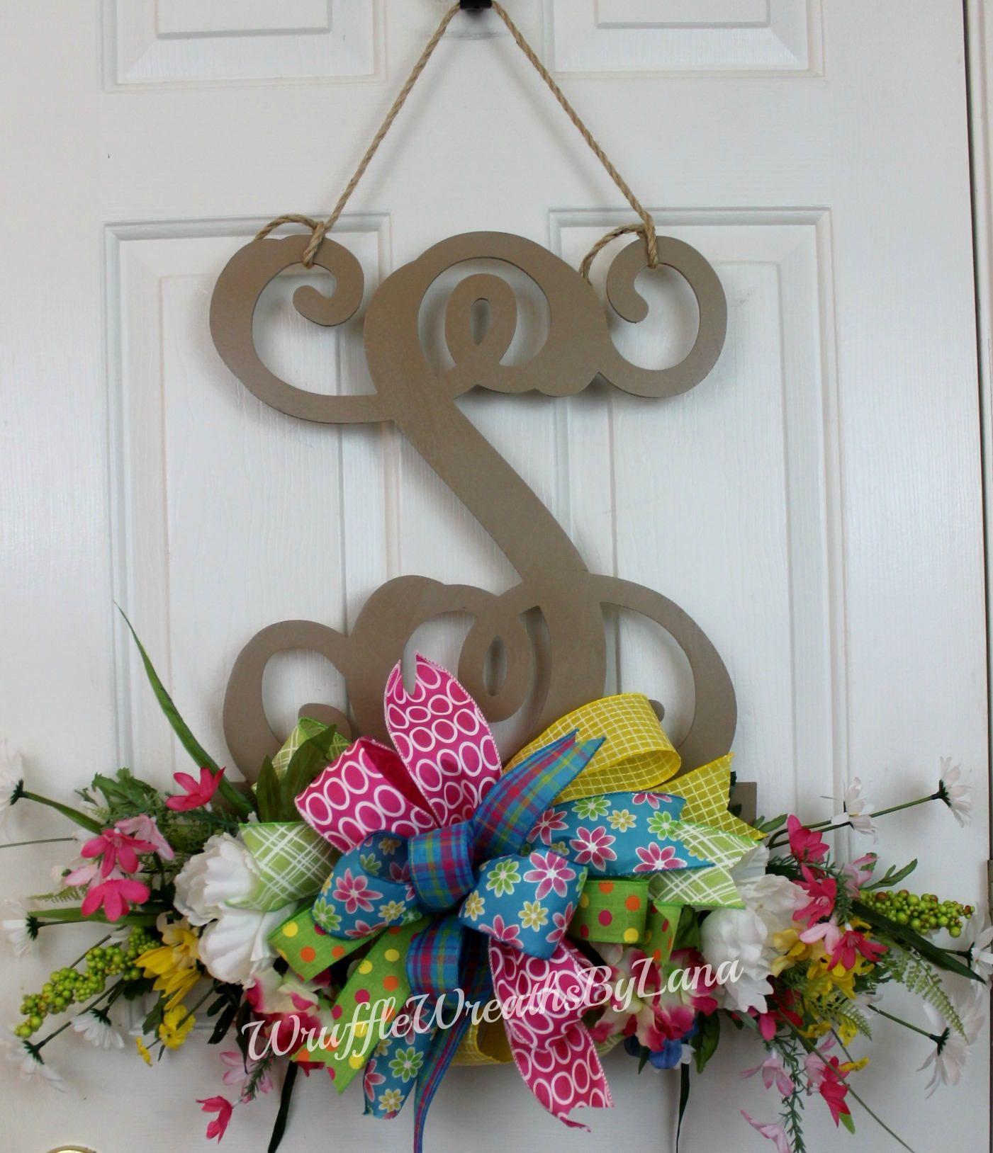 Monogram Door Hanging With Summer Flowers, Summer Door Hanging, Monogram  Front Door Hanging, Monogram Door Wreath, Front Door Wreath