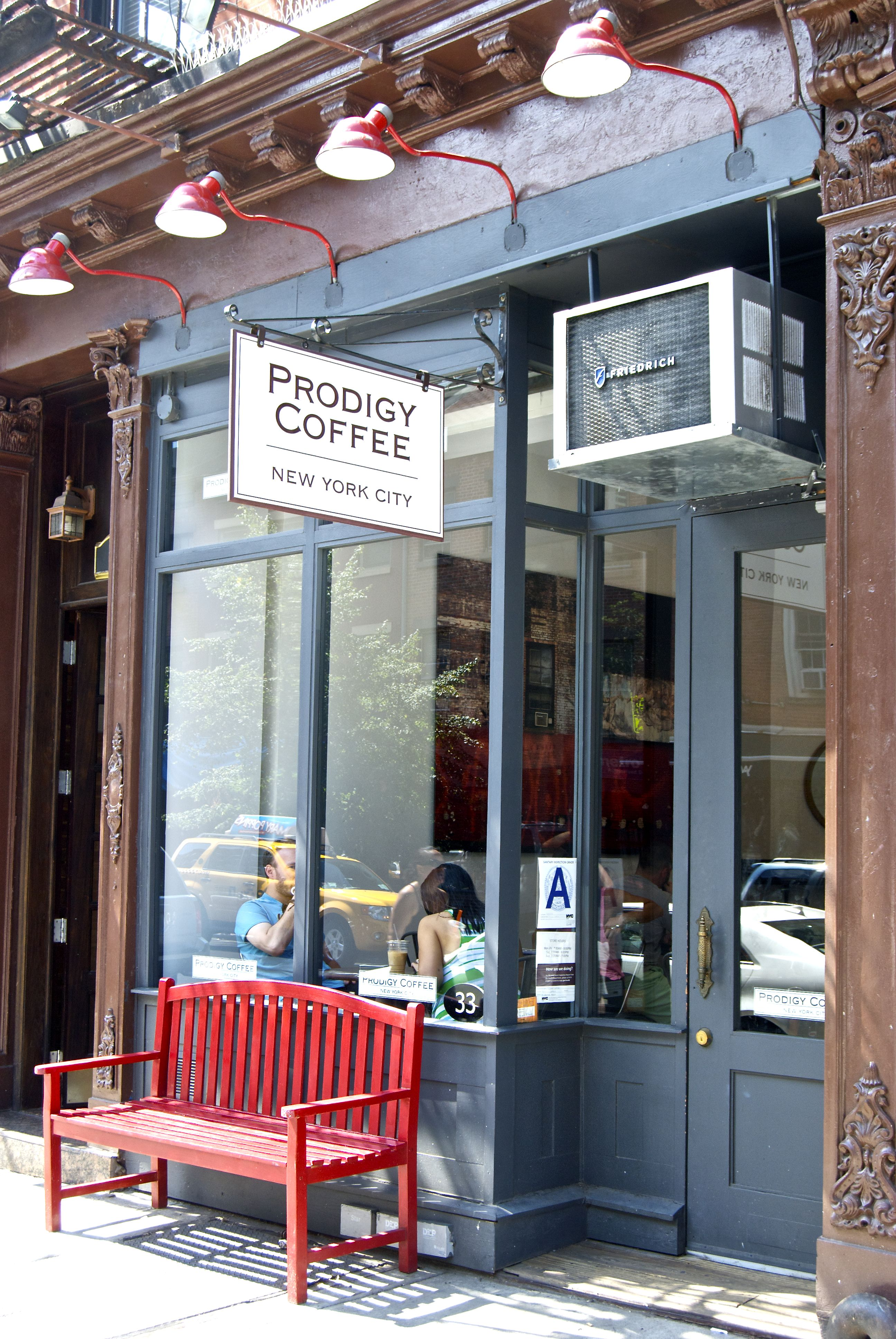 lights signage color facade bench prodigy coffee new york shop the top online shopping. Black Bedroom Furniture Sets. Home Design Ideas