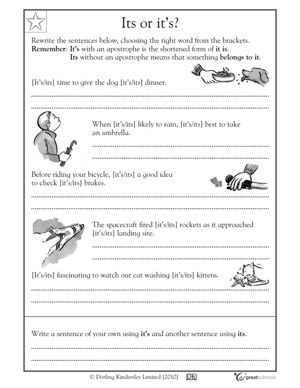 5 great writing worksheets: grade 3 - Its or it's? | GreatSchools