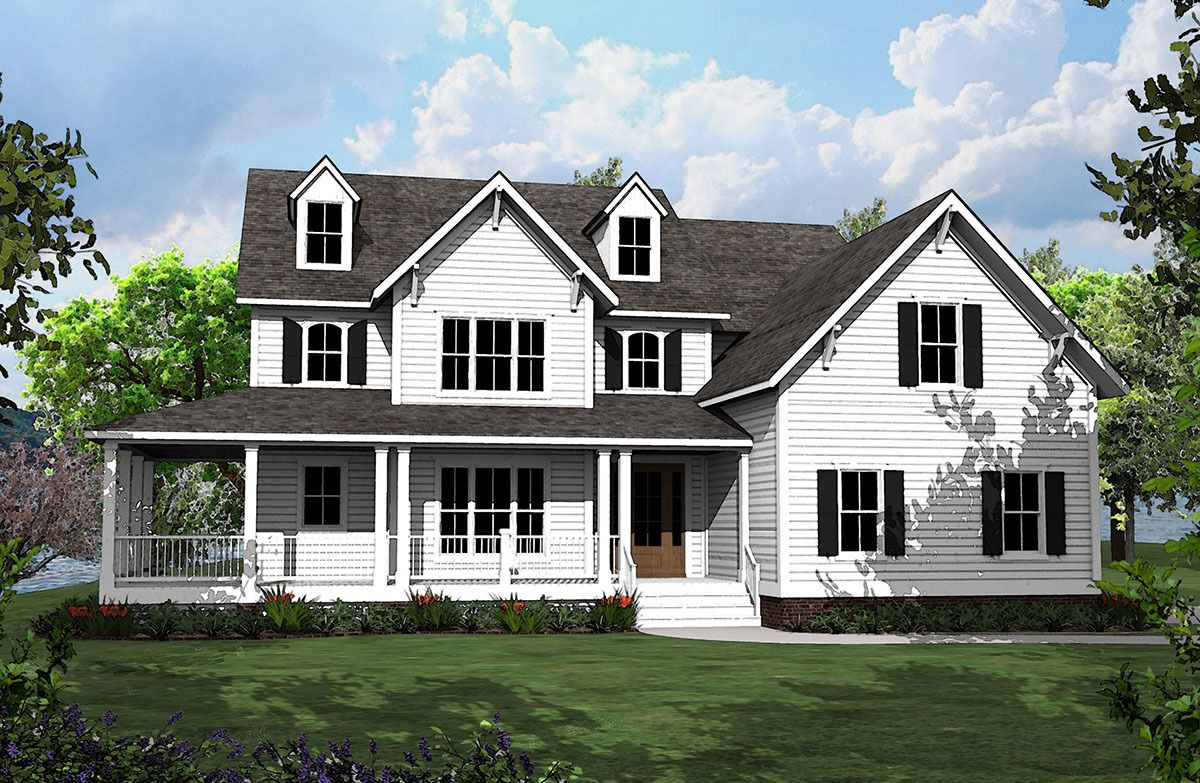 Plan 500008vv 4 Bed Country House Plan With L Shaped Porch Country House Plan Country House Plans House Plans Farmhouse
