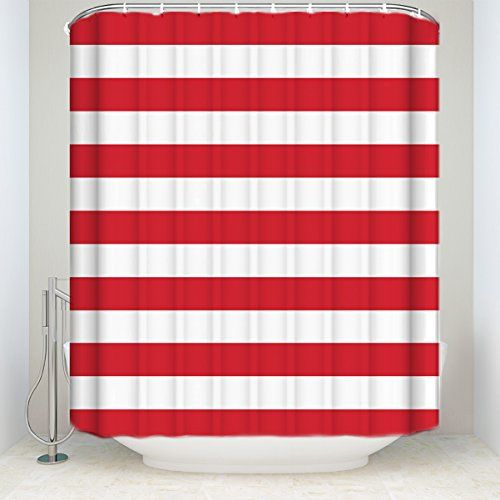 Prime Leader Striped Shower Curtain, Christmas Style Red